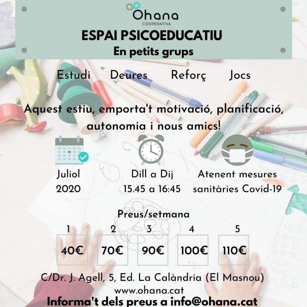 ESPAI PSICOEDUCATIU EN PETIT GRUP. UN ESTIU PER SEGUIR APRENENT!!